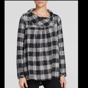 Free People plaid woven tunic cowl neck pockets